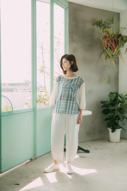 日光風景壓線寬管褲-白褲模特兒實穿