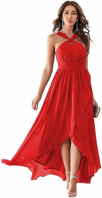Best Quality Red Chiffon Bridesmaid Dresses