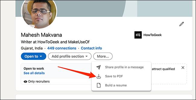 """حدد """"حفظ إلى PDF"""" في صفحة ملف تعريف LinkedIn."""