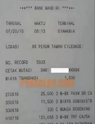 Cara Cek Mutasi Bank MANDIRI Di ATM 2