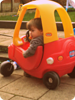 Small boy toddler Little Tikes Cozy Coupe