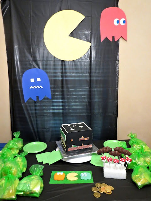 Retro Video Game Cake - Wall Decorations and Party Table with Cake & some Goodie Bag Treats