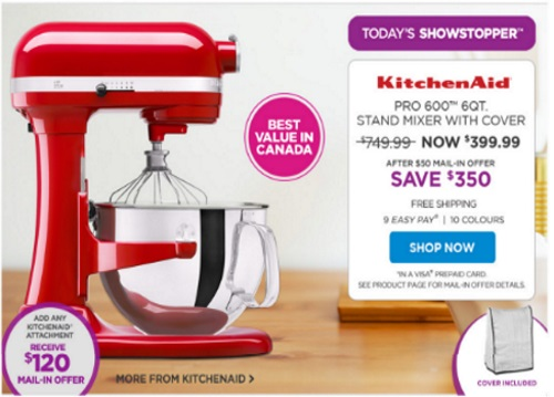 The Shopping Channel KitchenAid Stand Mixer Save $350 + $50 Mail-In Offer