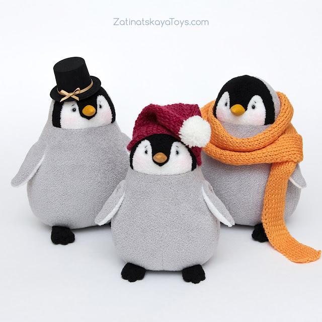 игрушки пингвины сшиты своими руками из флиса по выкройке Затинацкой Натальи в натуральную величину