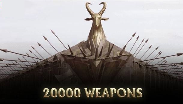 The number of 20000 weapons designed and used in the entire movie