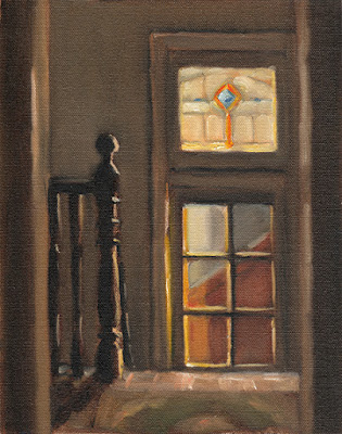Interior oil painting of the landing at the top of a staircase with light from nearby windows.