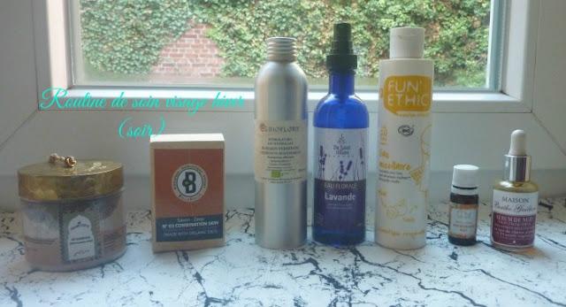routine-de-soin-visage-hiver-soir-rhassoul-hydrolat-eau-micellaire-huile-vegetale-serum-de-nuit