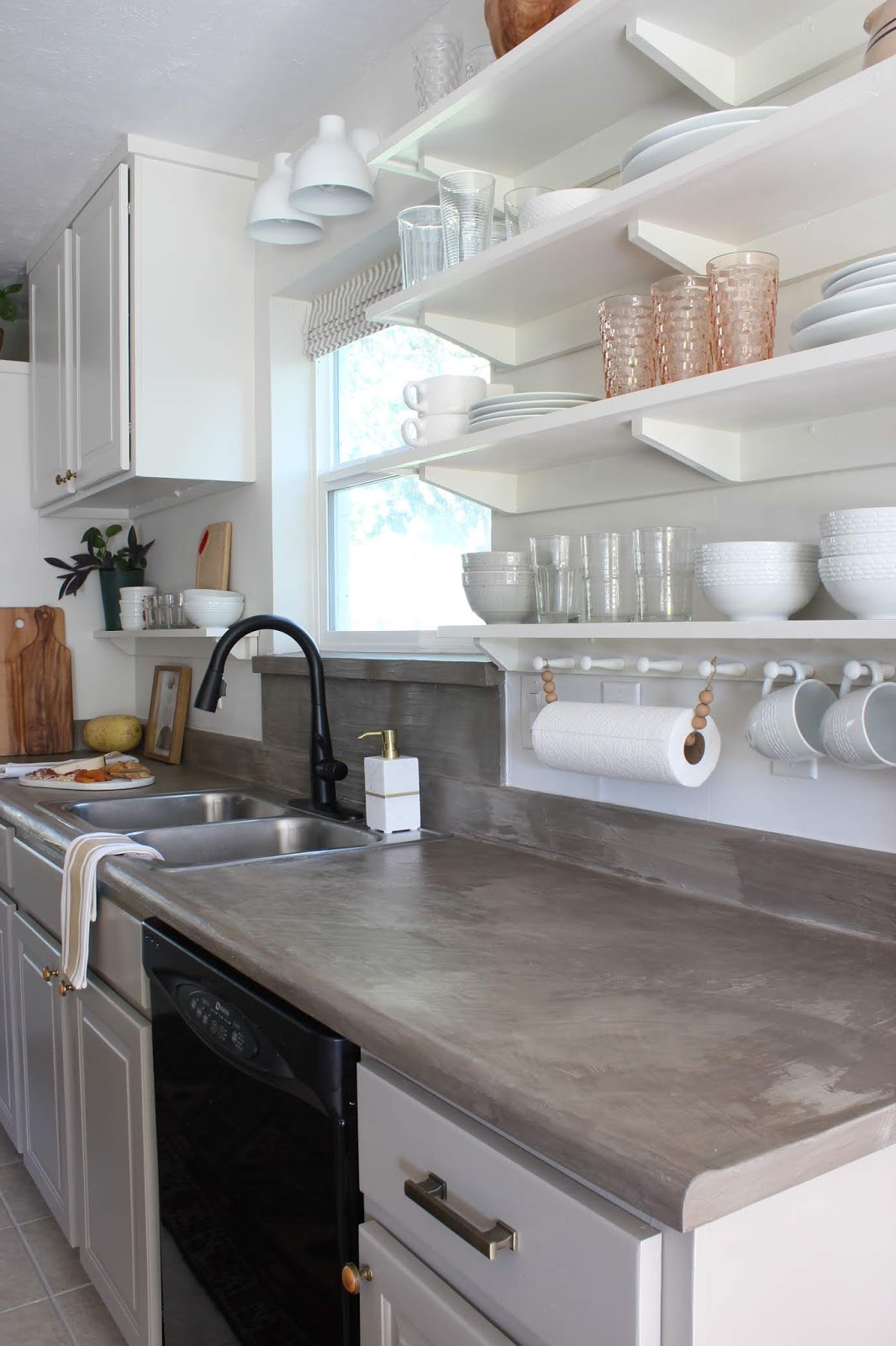 One room challenge budget kitchen makeover galley kitchen, remove soffit and put shelves under raised cabinets | House Homemade