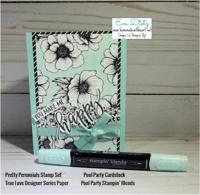 Vertical Mint Macaron black and white floral You Make Me Happy Card