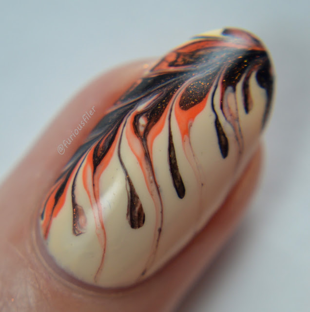 macro nail art close up coffee drag marble