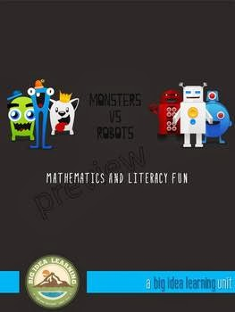 http://www.teacherspayteachers.com/Product/monsters-vs-robots-maths-and-literacy-fun-749707