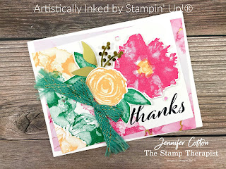 This gorgeous card uses Stampin' Up!'s Expressions in Ink Suite (Artistically Inked Bundle, Expressions in Ink 12x12 Specialty Designer Series Paper, & Expressions in Ink Ephemera Pack) and Just Jade & Gold Braided Ribbon.  Video, measurements, and supply list on the blog.  #StampinUp #ArtisticallyInked #StampTherapist