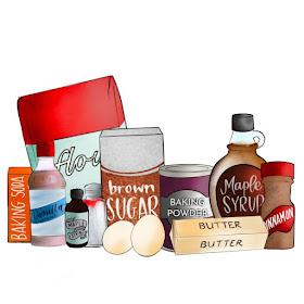 illustration of ingredients used to make maple cinnamon cookies