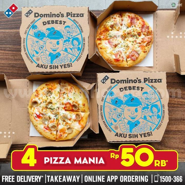 Promo Dominos Pizza - 4 Pizza Mania Hanya Rp 50rb*