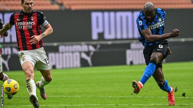 Romelu Lukaku scoring for Inter Milan in their 3-0 win over AC Milan