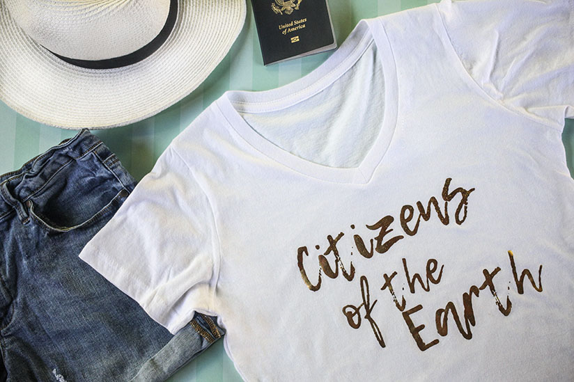 The classic white t-shirt reinvented by Amy West in her Citizens of the Earth Collection.
