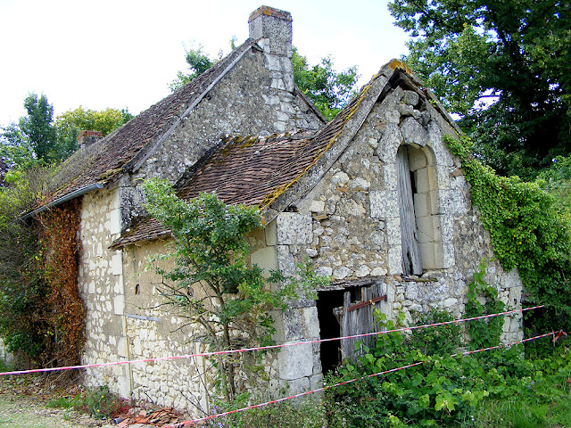 Derelict farm cottage.  Indre et Loire, France. Photographed by Susan Walter. Tour the Loire Valley with a classic car and a private guide.