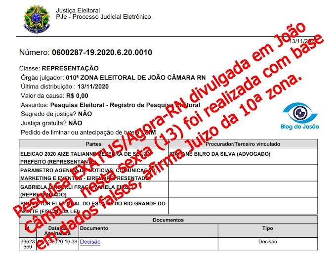 Pesquisa EXATUS/Agora-RN divulgada em João Câmara  nesta sexta (13), foi realizada com base em dados falsos, afirma Juízo da 10ª zona