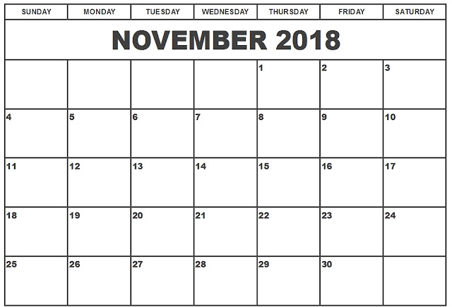 November 2018 holiday calendar