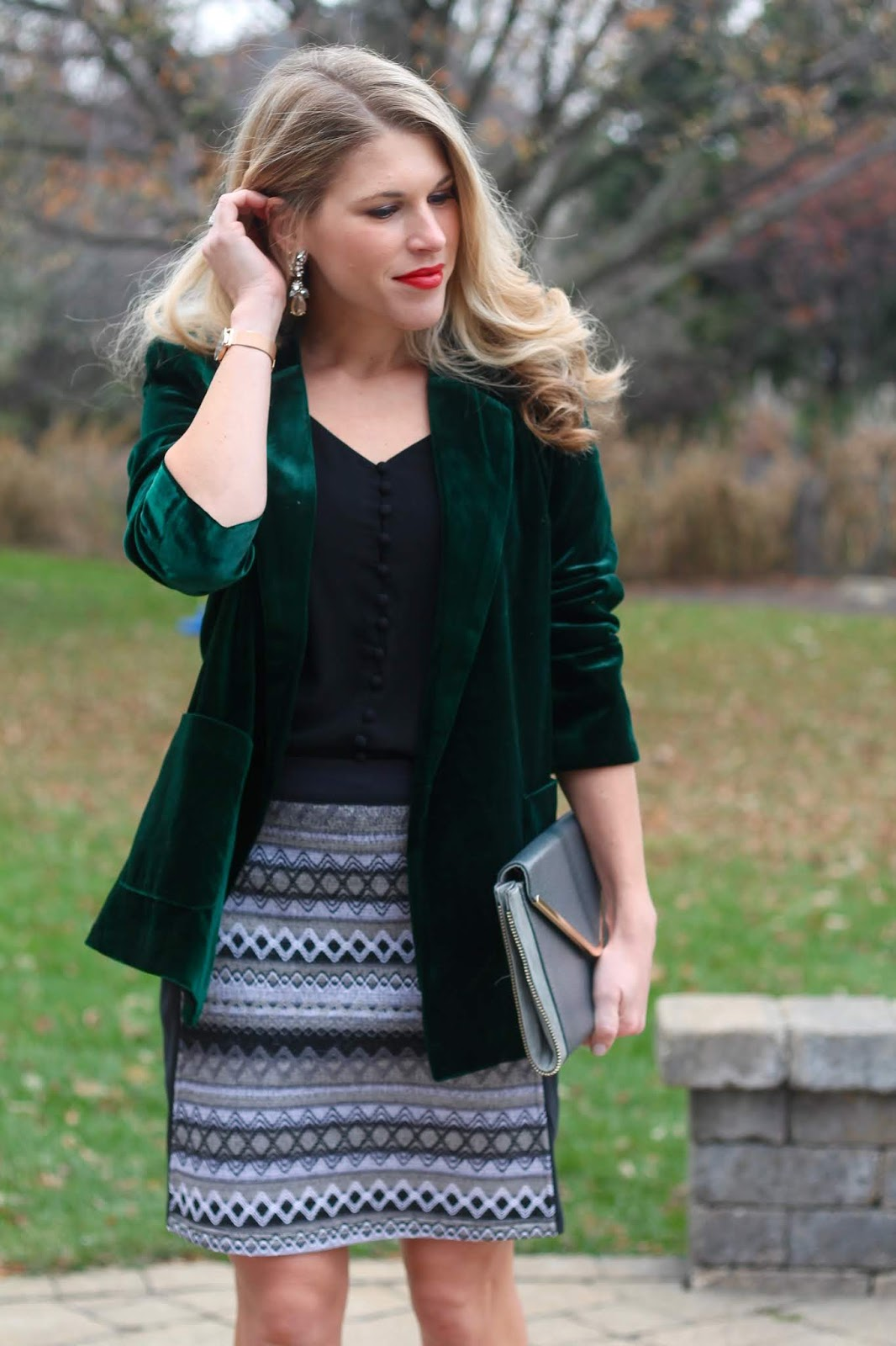 green velvet blazer, holiday outfits, aventura jacquard skirt, black button up cami, grey envelope clutch, starking watch review, giveaway, cotton underwearpe clutch, starking watch review, giveaway