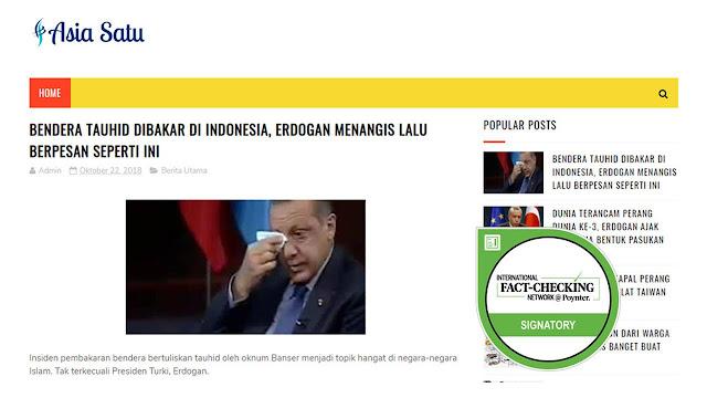 Cek Fakta: Presiden Turki Menangis dan Kecam Pembakaran Bendera HTI di Garut?