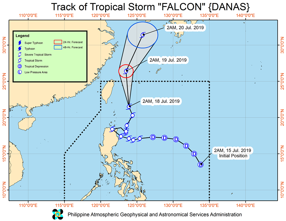 Track of Tropical Storm 'Falcon'