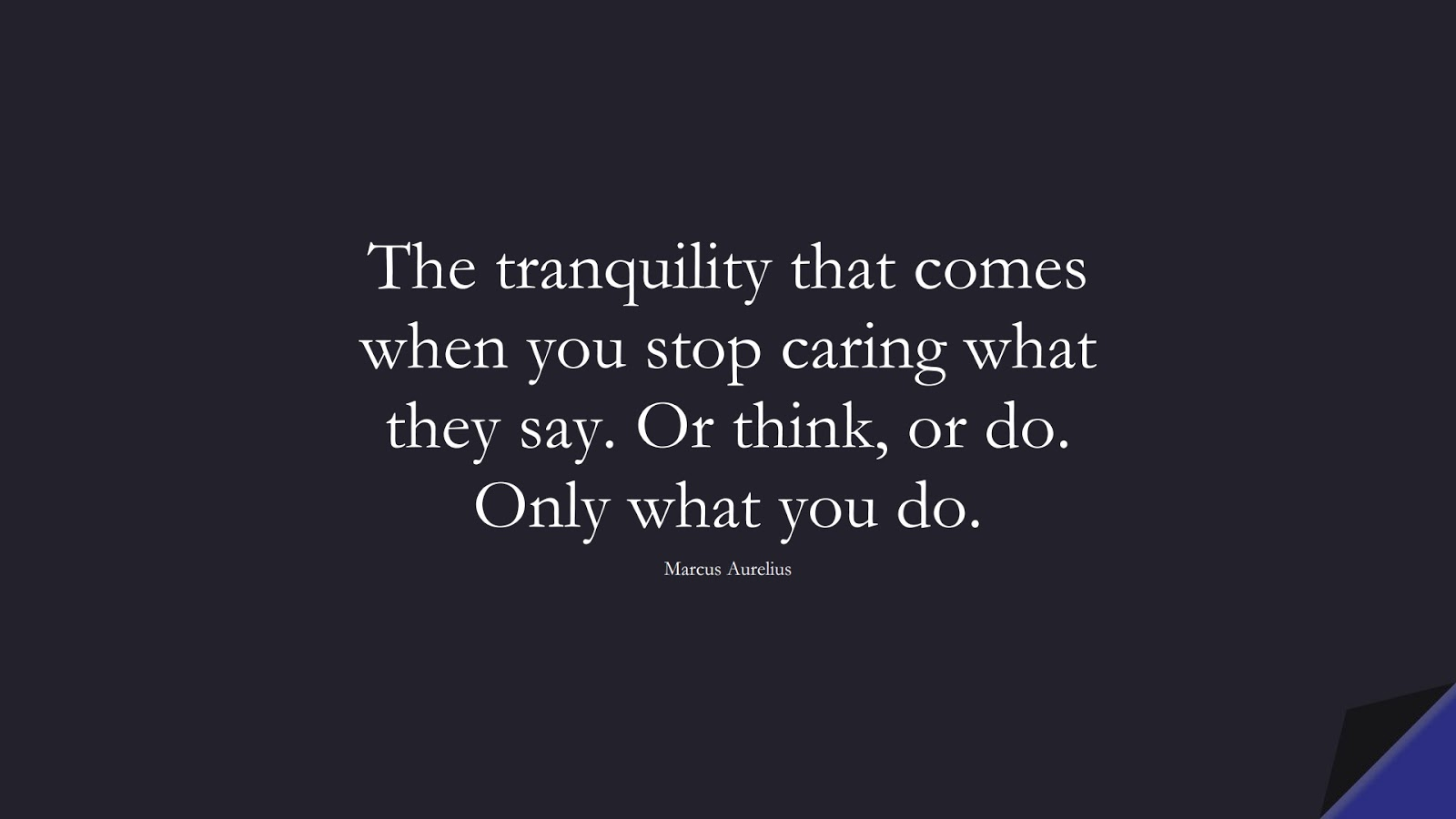 The tranquility that comes when you stop caring what they say. Or think, or do. Only what you do. (Marcus Aurelius);  #StoicQuotes