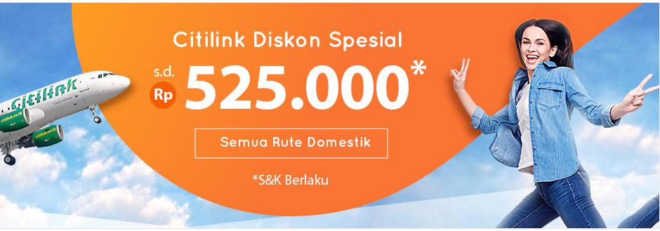#PegiPegi - Promo Diskon 13% Tiket Pesawat Citilink Maks 525K (s.d 07 Jan 2019)