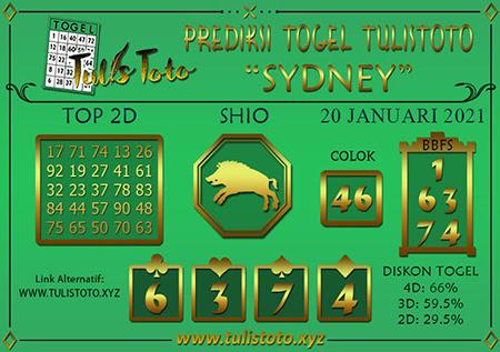 Prediksi Tulistoto Sydney Rabu 20 Januari 2021