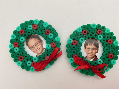 Hama bead Christmas gift magnets with photograph
