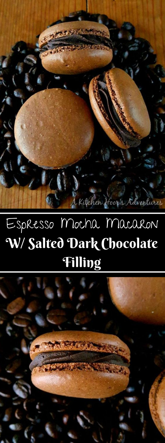 ESPRESSO MOCHA MACARON WITH SALTED DARK CHOCOLATE FILLING #healthydiet #keto #mocha #chocolate #salted