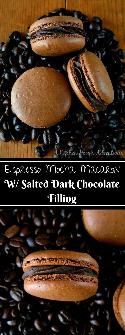 ESPRESSO MOCHA MACARON WITH SALTED DARK CHOCOLATE FILLING #healthydiet #keto #mocha #chocolate #salted