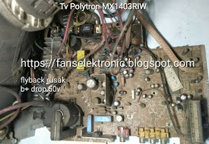 mengatasi tv polytron mx 14 rusak mati tegangan drop