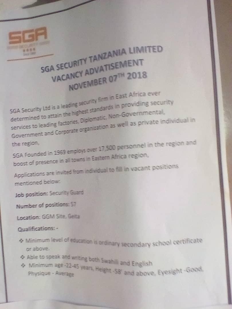 Job vacancy : Security Guard – GSA Security Tanzania