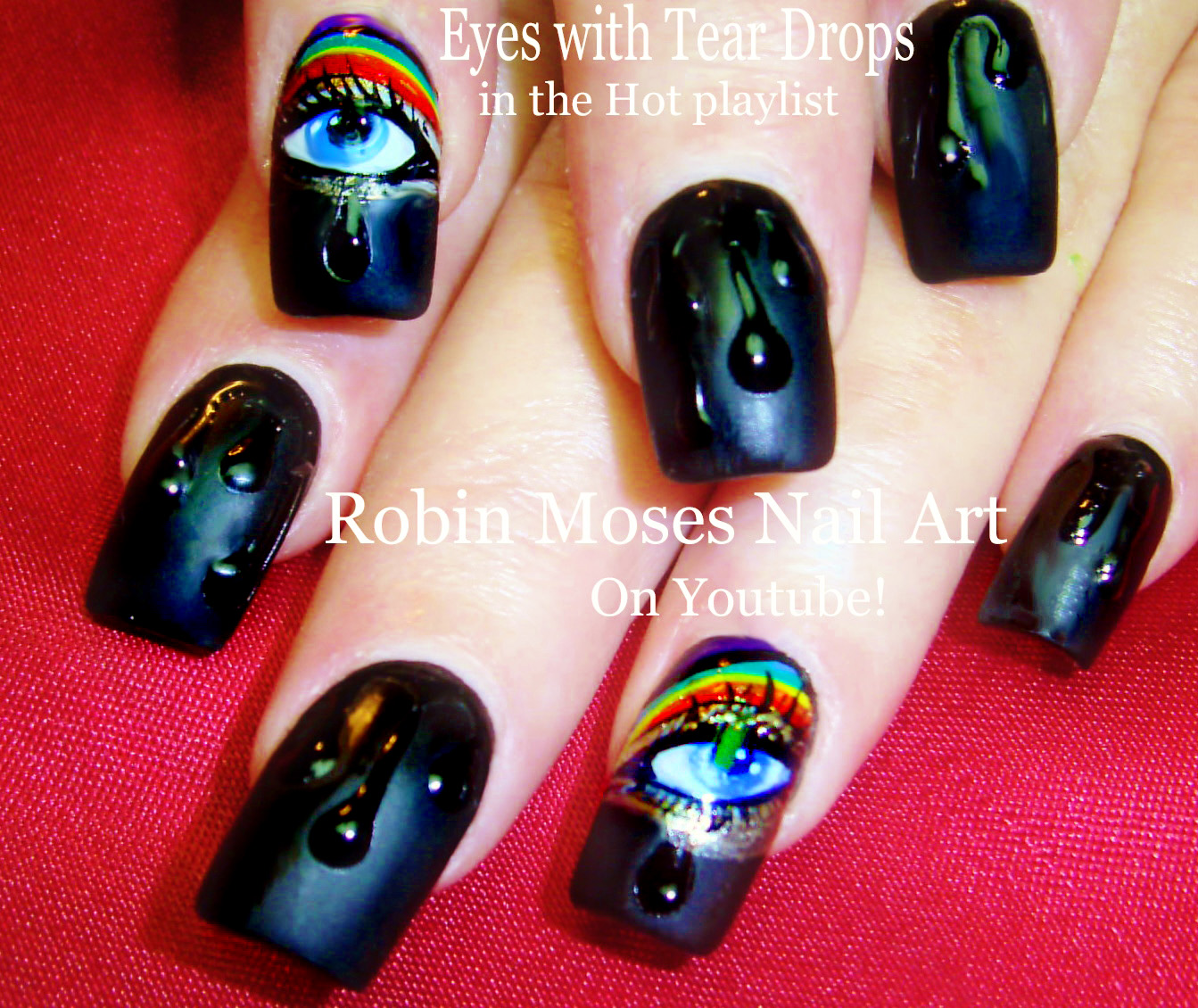 Nail Art By Robin Moses Rainbow No Water Marble Nail Art Design