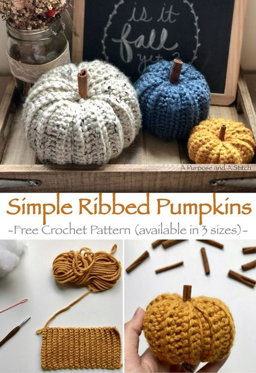 Simple Ribbed Pumpkins - Free Crochet Pattern