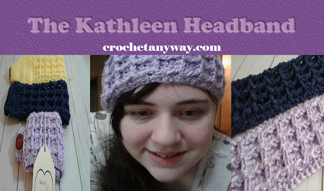 three pictures of waffle stitch headband