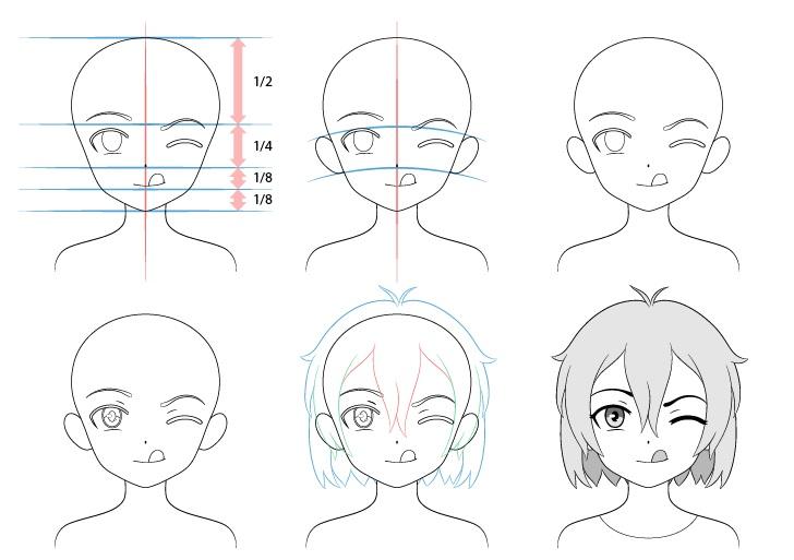 Gadis anime menjulurkan lidah menggambar selangkah demi selangkah