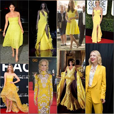 Collage of celebrities including Priyanka Chopra Amanda Seyfried and Joan Collins in yellow