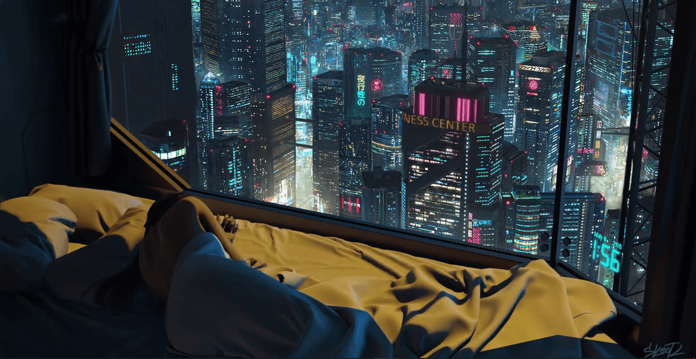 2AM Cyberpunk High Rise Apartment | Skeor [Wallpaper Engine Free]