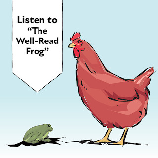 Illustration of a green frog and a brown chicken