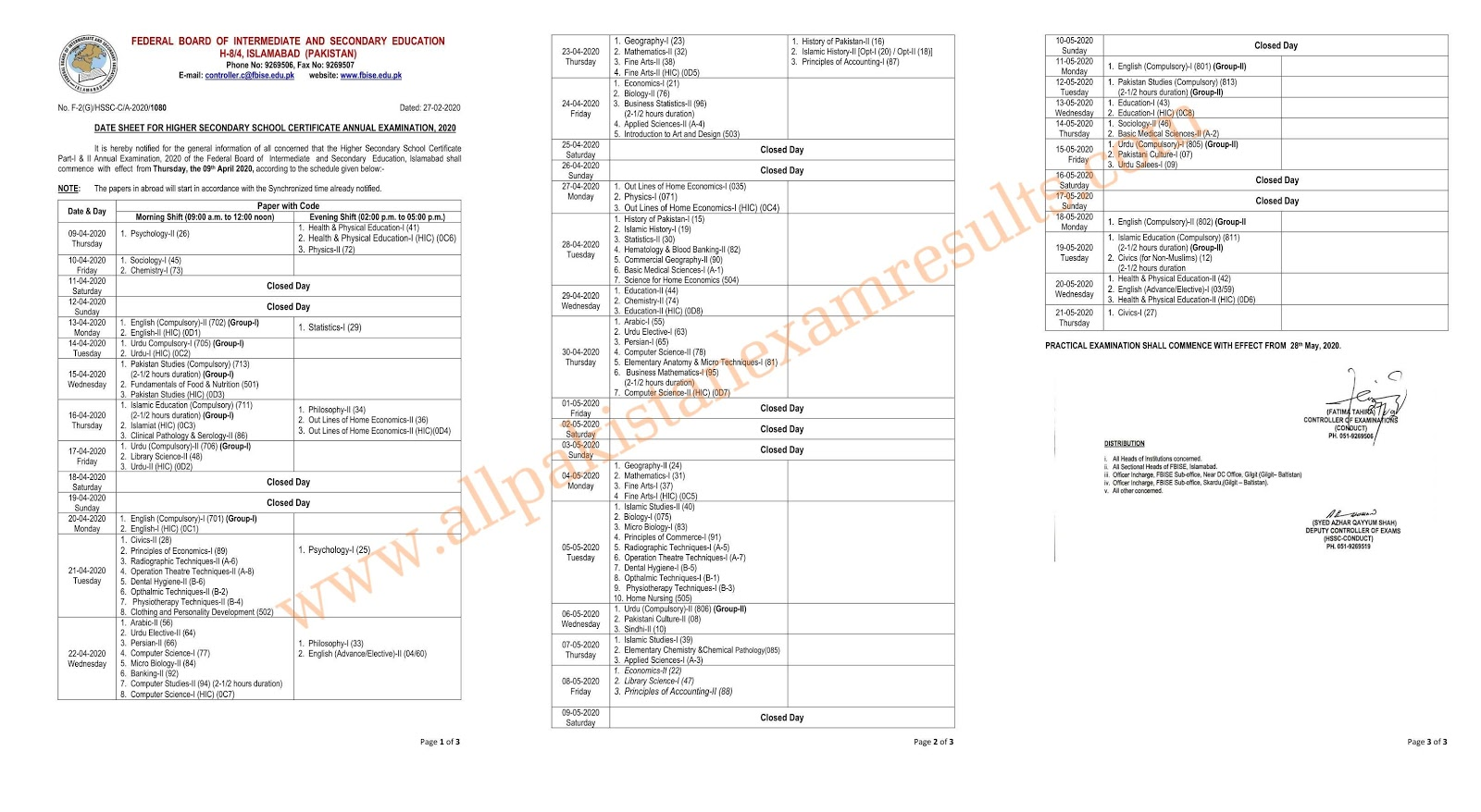 BISE Federal Board 11th and 12th Date Sheet 2020