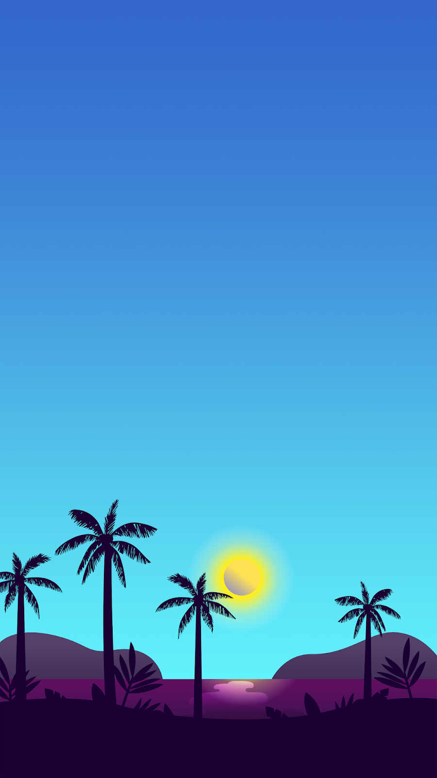 Minimal blue landscape 4K phone wallpaper