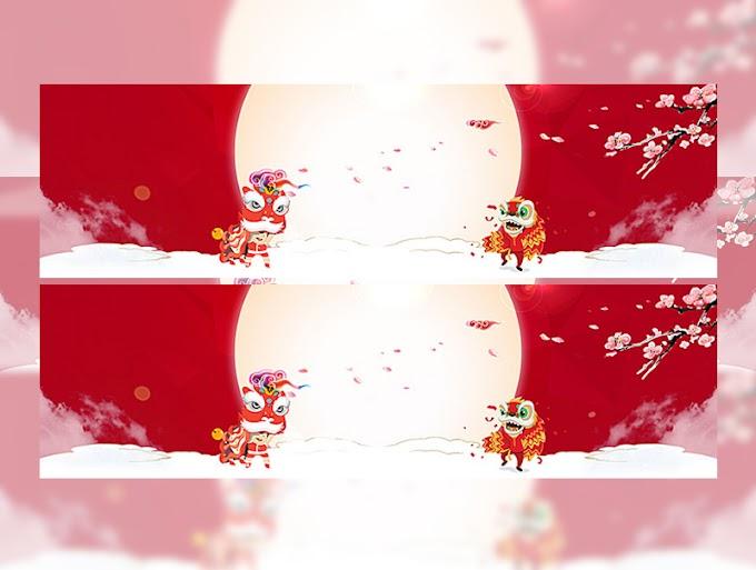 lantern dragon red background banner free psd