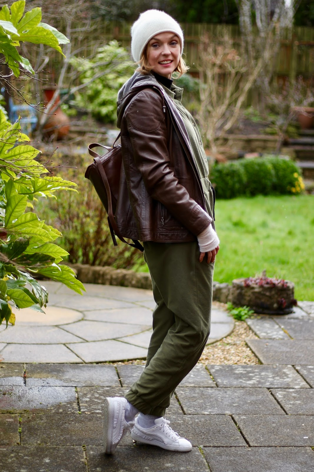Khaki Boiler suit and brown leather jacket | Fake Fabulous