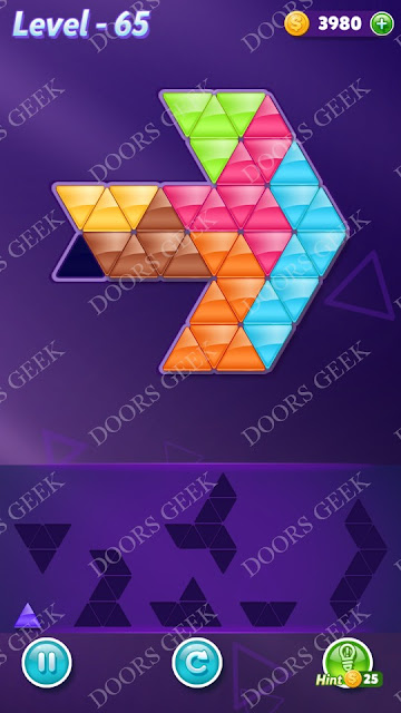 Block! Triangle Puzzle Advanced Level 65 Solution, Cheats, Walkthrough for Android, iPhone, iPad and iPod
