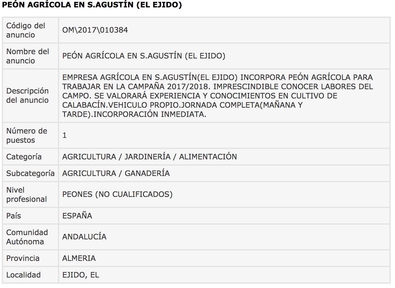 Ofertas de Empleo en España: Peón Agrícola - San Agustín ... - photo#17