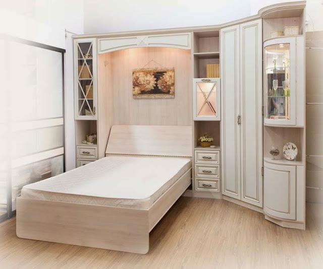 giường gấp âm, Giường gấp âm tường kèm tủ kệ trang trí 1,2m x 2m