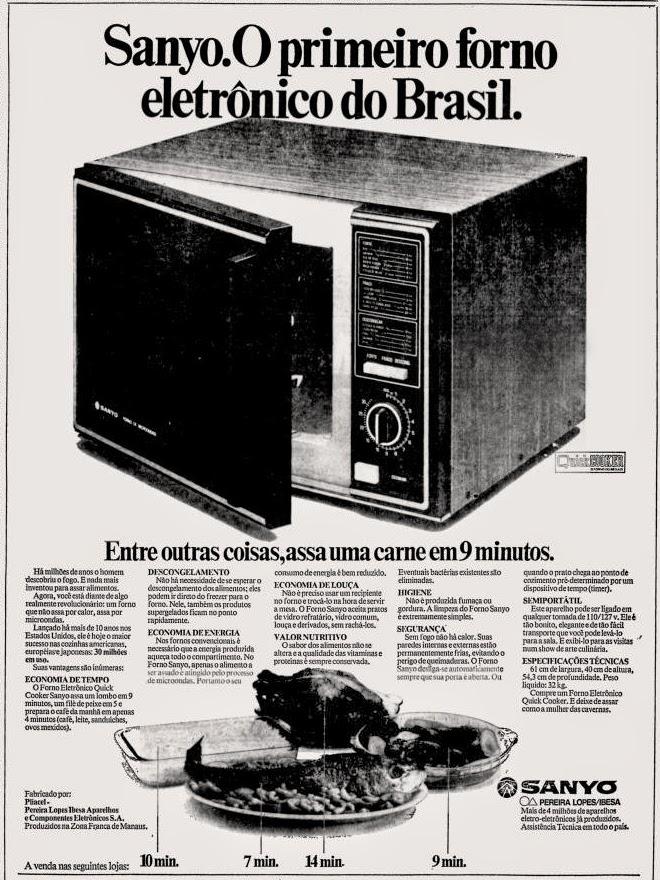 Propaganda da Sanyo de 1979 apresentando seu forno eletrônico