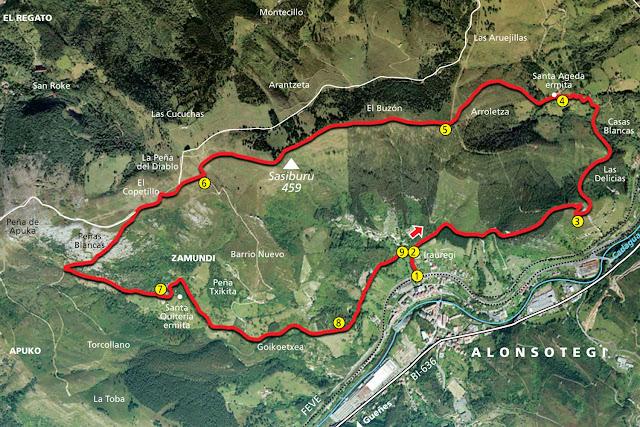 Mapa del sendero Ruta de Peñas Blancas